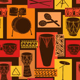 Musical seamless pattern of drum set Stock Photos