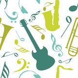 Musical seamless pattern with guitar. Royalty Free Stock Photography