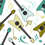 Musical seamless pattern with guitar. Stock Photo