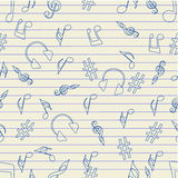 Musical seamless pattern with instrument and notes. Royalty Free Stock Photography