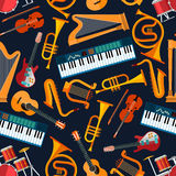 Musical seamless pattern with instruments Stock Photo