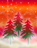 Musical Season of cheer. Christmas Illustration : Three glowing pine trees in a magical misty forest with snowflake background Stock Images