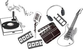 Musical set. Retro and morden elements of music Stock Photos