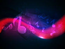 Musical sign with shiny colorful waves. Royalty Free Stock Images