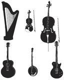 Musical silhouettes 1. Vector illustration in silhouette of various musical instruments fully editable and on separate layers Stock Photography