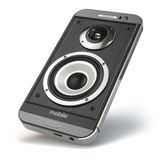 Musical smartphone.Mobile phone music app. Cellphone and loudspe Royalty Free Stock Images