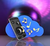 Musical smartphone Mobile phone music app Cellphone and loudspeakers with cloud Concept of cloud storage on disco ball background. Musical smartphone Mobile vector illustration