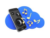 Musical smartphone Mobile phone music app Cellphone and loudspeakers with cloud Concept of cloud storage on white background 3d. Musical smartphone Mobile phone vector illustration