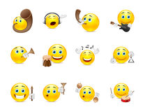 Musical smilies. Set of yellow smiles that play on different types of musical instruments Royalty Free Stock Image