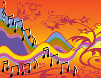 Musical song notes colorful. Musical song notes on colorful waves with flowers and butterflies. Orange, yellow, blue, pink, purple, green, brown, black vector illustration