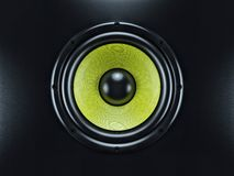 Musical sound speaker on black background Stock Image