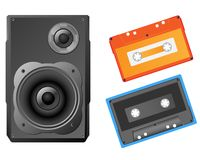 Musical speaker and audiocassette Stock Photography