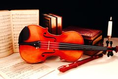Musical Still Life with Violin Royalty Free Stock Image