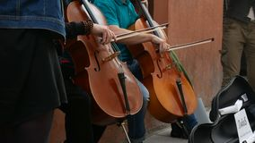 Musical street playing. Musical quartet playing. Musician playing contrabass. Musicians perform at the concert stock footage