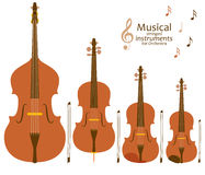 Musical stringed instruments for orchestra Stock Images