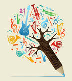 Musical studies concept pencil tree Royalty Free Stock Images