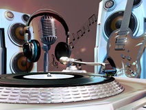 Musical studio. A turntable, a microphone with headphones on it, an electric guitar and loudspeakers, illustrating the interior of a musical studio Royalty Free Stock Photo
