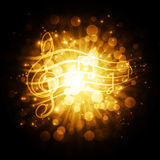 Musical symbols with stars Stock Photography