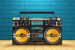 Musical tape player recoreder. Vintage radio FM player Royalty Free Stock Photography
