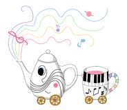Musical teapot and cup train. Royalty Free Stock Image