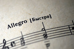 Free Musical Tempo `Allegro` In A Music Notebook Royalty Free Stock Photography - 85774877
