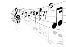Musical theme. Vector illustration of musical lines and notes with copy space Royalty Free Stock Photography