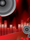 Musical theme with loudspeakers Stock Photo