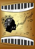 Musical theme with piano keyboard and silhouette face profile of singing woman. Decorative design element for an invitation or lea Stock Photo