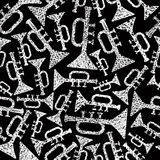 Musical theme seamless background, seamless pattern with trumpet Stock Photo