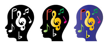Musical think. Illustration of musical thinking on white background Royalty Free Stock Photography