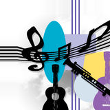Musical tools,. Background elements abstract and musical notes Royalty Free Stock Photo