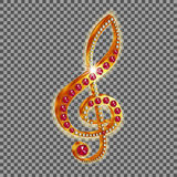 Musical treble clef with gems Royalty Free Stock Photography