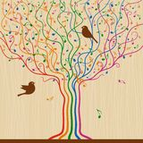 Musical Tree. Abstract musical tree in retro style. Vector illustration with clipping mask Royalty Free Stock Photography