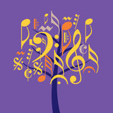 Musical tree icon in floral pattern Royalty Free Stock Images