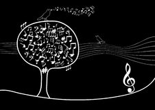 Musical tree with notes inside and bird vector illustration