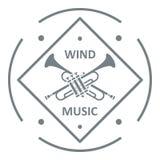 Musical trumpet logo, simple gray style. Musical trumpet logo. Simple illustration of musical trumpet vector logo for web Royalty Free Stock Photos