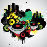 Musical and urban. With speakers royalty free illustration