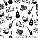 Musical vector background, music accessories seamless pattern.  Stock Photography
