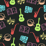 Musical vector background, music accessories seamless pattern.  Stock Image