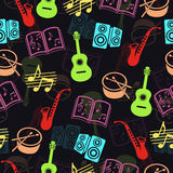 Musical vector background, music accessories seamless pattern.  Royalty Free Stock Photography