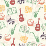 Musical vector background, music accessories seamless pattern Stock Image