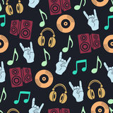Musical vector background, music accessories seamless pattern.  Stock Photos