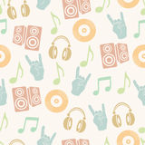 Musical vector background, music accessories seamless pattern.  Stock Photo