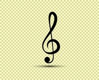 Musical vector treble clef, icon, silhouette. The object is isolated on a transparent light background vector illustration