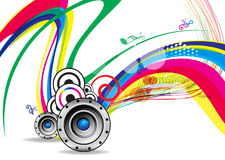 Musical wave background with sound. Vector illustration Stock Photos