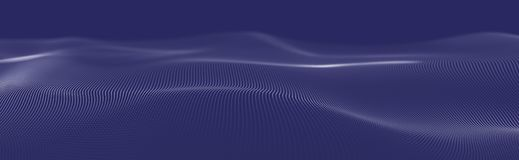 Musical wave of particles. Sound structural connections. Abstract background with a wave of luminous particles. Wave 3d royalty free illustration