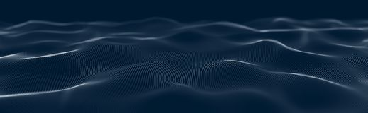 Musical wave of particles. Sound structural connections. Abstract background with a wave of luminous particles. Wave 3d stock illustration