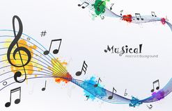 Musical Waves notes Abstract Background. Design concept of music notes waves. Transparent file in vector illustrator so easy to use Stock Photo