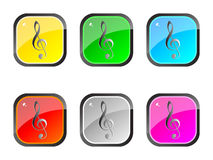 Musical web buttons Stock Photos