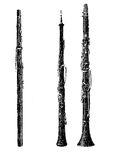 Musical wind instruments, oboe, vintage engraving Royalty Free Stock Image